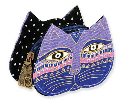 LAUREL BURCH Coin Bag CAT KITTEN FACE HEAD ART Trinket Case Purse Pouch PURPLE