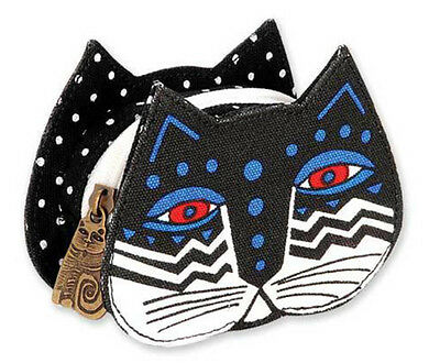 LAUREL BURCH Coin Bag CAT KITTEN FACE HEAD ART Case Purse Pouch BLACK & WHITE
