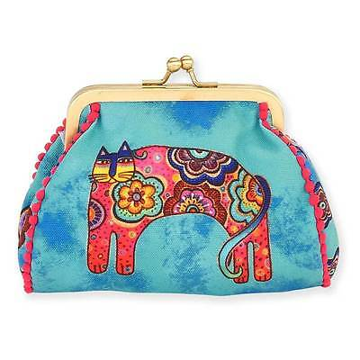 New LAUREL BURCH Coin Bag CAT KITTEN ART Case Purse Pouch BLUE FLORAL Kisslock