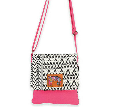 LAUREL BURCH Flap Over Crossbody Bag BLACK WHITE CAT Woven Purse Handbag PINK