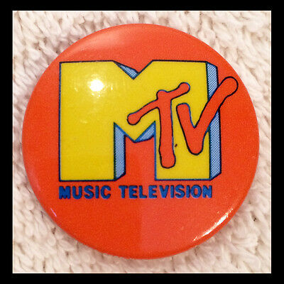 MTV MUSIC TELEVISION Authentic 1980s BUTTON / PINBACK PIN orange - FREE SHIPPING