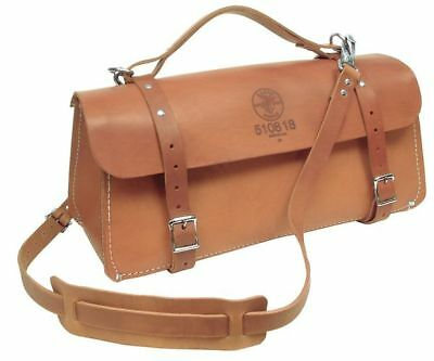 KLEIN TOOLS 5108-18 Wide-Mouth Tool Bag, Extra Heavy Leather, Brown, 18""