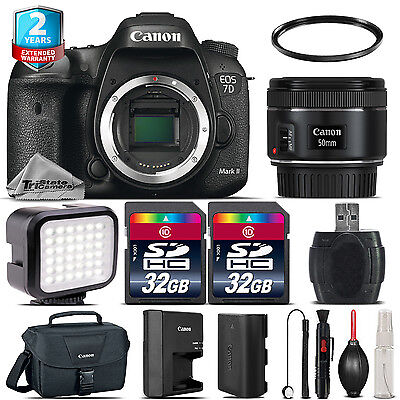 Canon EOS 7D Mark II Camera + 50mm 1.8 + LED Light + Case + 64GB + 2yr Warranty