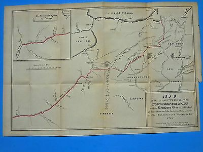 Antique Map Northern Colonies 1768,boundary Line Between Indians;j E Gavit 1849