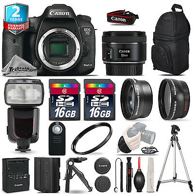 Canon EOS 7D Mark II DSLR Camera + 50mm+ Flash+ 32GB + EXT BATT +2yr Warranty