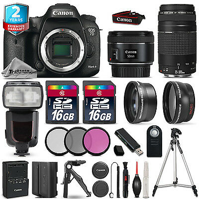 Canon EOS 7D Mark II Camera + 50mm STM + 75-300mm + 32GB + Flash + 2yr Warranty