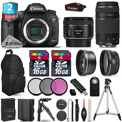 Canon EOS 7D Mark II Camera + 50mm 1.8 + 75-300mm + EXT BAT + 32GB +2yr Warranty