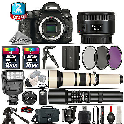 Canon EOS 7D Mark II Camera + 50mm + 650-1300mm +500mm + EXT BATT + 2yr Warranty