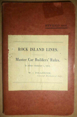 1914 Rock Island Line Railroad Master Car Builders Rules Guide Book Freigh Train