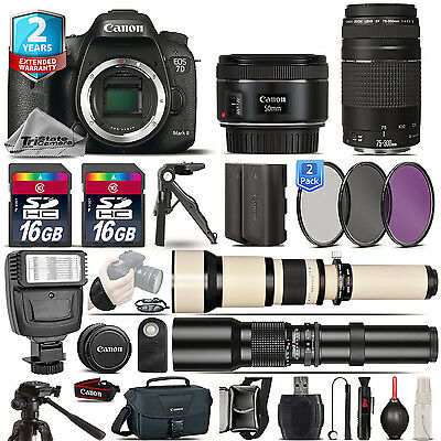 Canon EOS 7D Mark II Camera + 50mm 1.8 + 75-300mm III + EXT BATT + 2yr Warranty