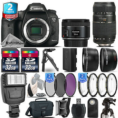 Canon EOS 7D Mark II Camera + 50mm 1.8 STM + 70-300mm + 2yr Warranty- 64GB Kit