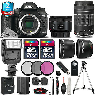 Canon EOS 7D Mark II + 50mm + 75-300mm + 32GB + Flash + EXT BAT + 2yr Warranty