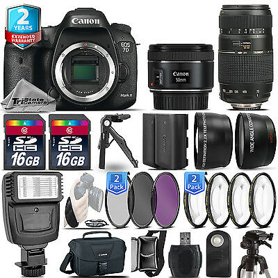 Canon EOS 7D Mark II Camera + 50mm 1.8 + 70-300mm + Extra Battery + 2yr Warranty