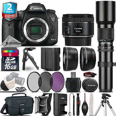Canon EOS 7D Mark II Camera + 50mm 1.8 + 500mm + EXT BAT +2yr Warranty -16GB Kit