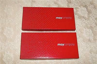 2 Vintage May Co May's Department Store Cleveland Ohio Gift Box ~Red & White Exc