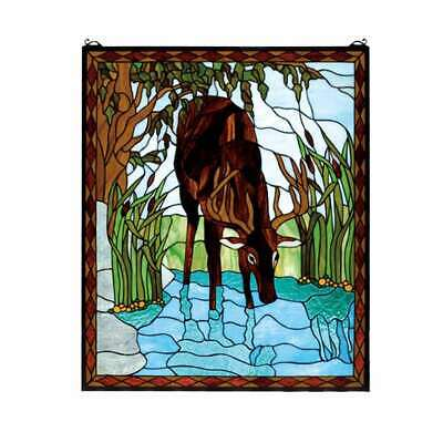 "Meyda Lighting 25""W X 30""H Deer Stained Glass Window, Aq Amber Lt Blue - 72936"