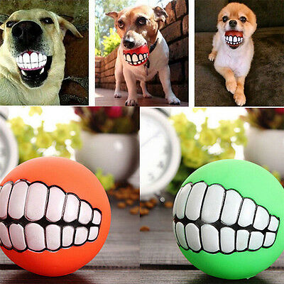 Funny Pet Dog Ball Teeth Silicon Toy Chew Squeaky Squeaker Sound Dogs Play Toys
