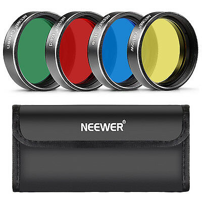 """Neewer Standard 2"""" Color Filter Set Red Yellow Green Blue for Telescope Eyepiece"""