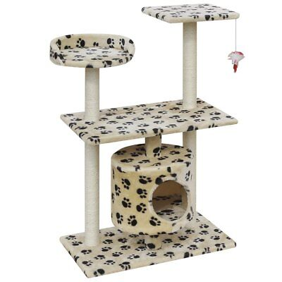 Cat Tree Scratching Post Scratcher 1 House Gym Condo 92cm Beige w/ Paw Prints