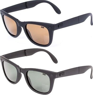 Nash Micro-Pak Folding Polarised Glasses & Soft Pouch Case in Grey | Amber Brown