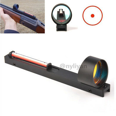 Red Dot Holographic Scope Sight&Red Fiber Fit Shotgun Rib Rail for Rifle Hunting