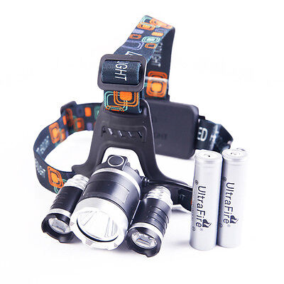 CREE XM-L T6 3 LED 12000LM Headlamp Headlight Torch Flashlight + 2 18650 Battery