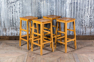 Wooden School Chemistry Stools Vintage Lab Stools College Science Chairs