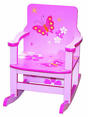 Girls Wooden Rocking Chair Pink Butterfly Toddlers Chair Kids Bedroom Furniture