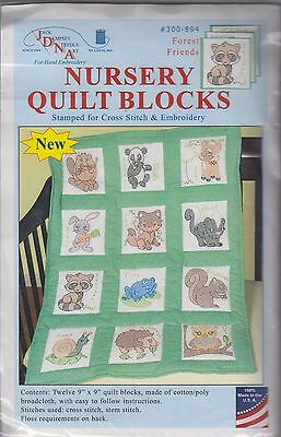"""1 Jack Dempsey """"Forest Friends"""" Stamped Embroidery/Cross stitch Quilt Blocks"""