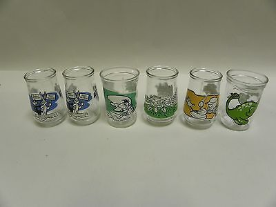"""LOT """"6"""" Vintage Welch's Looney Tunes & Dinosaur Jelly Jar Glasses Cups (A3)"""