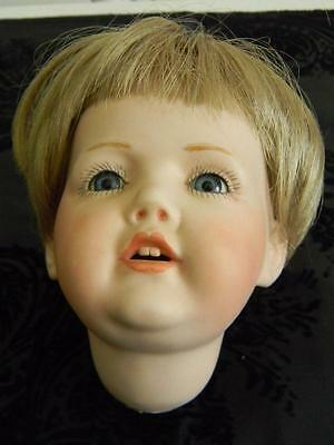 Vintage Ges Gesch JDK Germany Bisque Porcelain Doll Head~Open Mouth~Wig~Signed