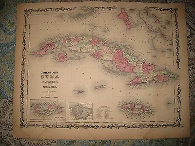 Antique 1862 Cuba Puerto Rico Jamaica Havana Johnson Handcolored Map Superb Rare