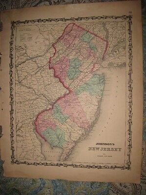 Large Superb Antique 1862 New Jersey Johnson Handcolored Map Princeton Freehold