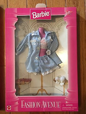 NEW Barbie Fashion Avenue 1995 Blue Gingham Baby Doll Pajama Outfit Set