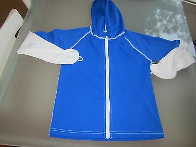 unisex youth size 8 SPZ UV protection swimwear top zipped hoodie thumb hole