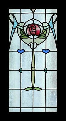Art Nouveau Stunning Mackintosh Rose Beauty Antique English Stained Glass Window