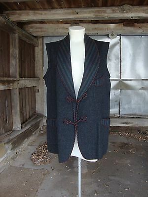 Vintage Antique Striped Wool Shawl Collar Vest * Circa 1910-1920 * Med to Large