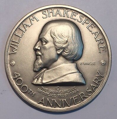 United Kingdom 1964 William Shakespeare Silver Huge Medal 400th Anniversary