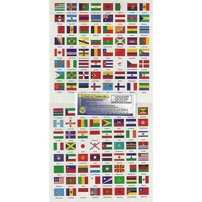 Stickers sheet 192 flags countries of the World (1862s safe)