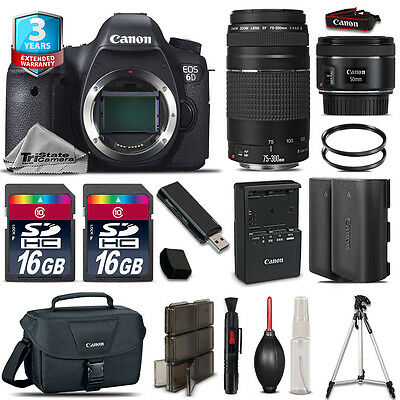 Canon EOS 6D DSLR Camera + 50mm STM + 75-300mm + EXT BATT+ 32GB + 3yr Warranty