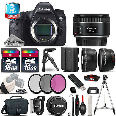 Canon EOS 6D DSLR Camera + 50mm STM -3 Lens Kit + 32GB +EXT BATT +3yr Warranty