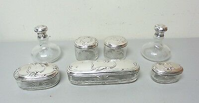 7-Piece Antique French? Etched Glass Dresser Set, Embossed Sterling Silver Tops