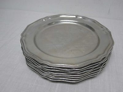 "8 Wilton Armetal Pewter 10 1/2"" Queen Anne Satin Dinner Plates"