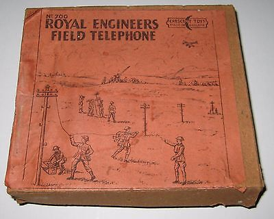 original vintage Crescent toys ROYAL ENGINEERS FIELD TELEPHONE hollowcast boxset