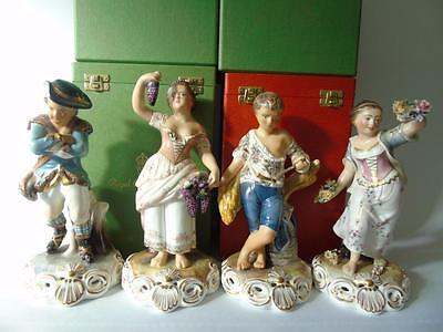 """Cased Complete Set of Royal Crown Derby Four Seasons Figurines - All signed 9"""""""