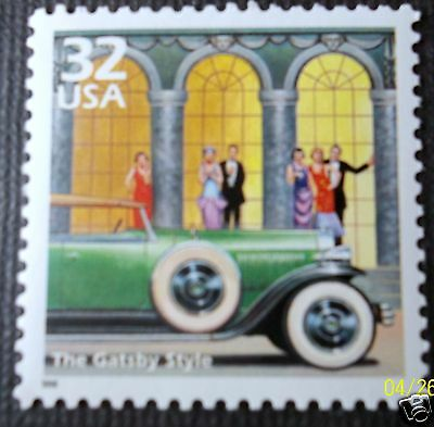 The Great Gatsby style stamp Duesenberg limo flappers 1920s F Scott Fitzgerald