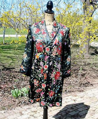 Gorgeous Vintage Chinese Embroidered Long Jacket Floral Embroidery Fancy Birds