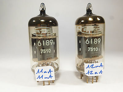two, one pair 6189 12AU7WA ECC82 RTC military grade NOS matched in U61C