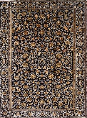 All-Over Pattern Navy Blue/Green Floral 9x13 Kashan Persian Oriental Area Rug