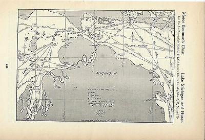 1930's Nautical Charts Great Lakes Huron Michigan Erie Ontario + Lake Champlain